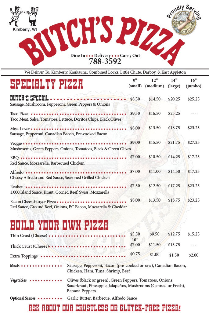 butchs pizza menu,fox valley pizza company,pizza delivery in the fox valley wi